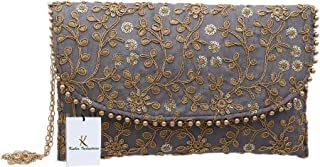 Kuber Industries CTKTC34516 Handcrafted Embroidered Clutch Purse (Grey)