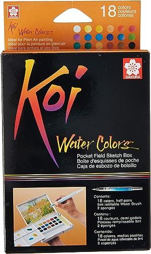 Sakura XNCW-18N, 18 Assorted Watercolors Field Sketch Set with Brush