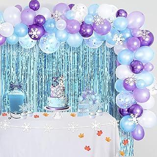 CHRORINE Girl Frozen 2 Birthday Party Decorations Supplies, Blue Purple Birthday Decorations, Snowflake Decorations, 109 p...