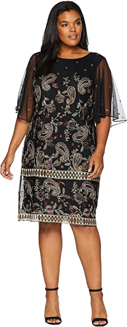 Plus Size Paisley Embroidered Shift Dress