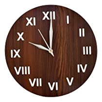 Heart Home Roman Number Round Shaped Wooden 10″ Wall Clock (Brown)