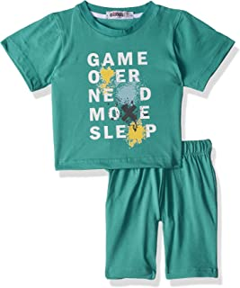 Giggles Letter-Print Round-Neck T-Shirt with Solid Shorts Pajama Set For Boys