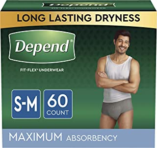 Depend FIT-FLEX Incontinence Underwear for Men, Maximum Absorbency, Disposable, Small/Medium, Grey, 60 Count (2 Packs of 3...