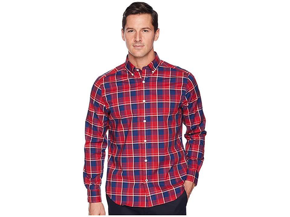 Nautica Long Sleeve Wear to Work Classic Plaid Shirt (Rescue Red) Men