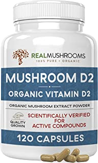 Mushroom-Based Vitamin D2 Supplement (120 Caps) Vitamin D Vegan Supplement 1000IU | Adult Vitamins Supplements, D2 Mushroo...