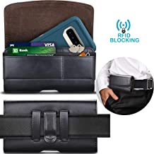 Tekcoo Phone Holster for Galaxy Note 10 Note 9 8 S10 Plus S9+ iPhone 11 Pro Max Moto G7 Leather Belt Clip Pouch Carrying Wallet Cover Card Holder Slots(Fits Otterbox Defender/Lifeproof Case on) BK