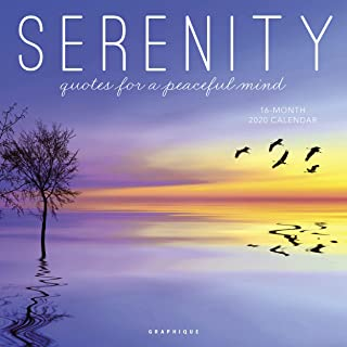 """Graphique Serenity Wall Calendar, 16-Month 2020 Wall Calendar with Encouraging Messages and Gorgeous Photographs, 3 Languages & Major Holidays, 2020 Calendar, 12"""" x 12"""""""
