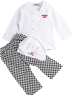 Baby Boy Girl Unisex Cotton Cook Chef Costume, Pants and Hat 3-pc
