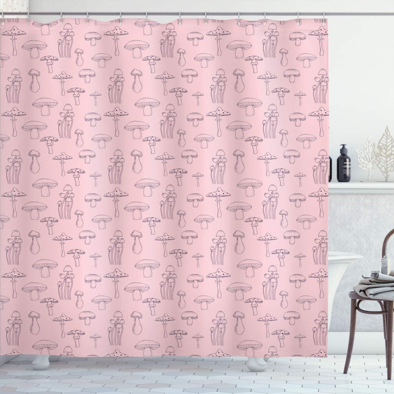 ☆送料無料☆ 当日発送可能 Ambesonne Mushroom Shower Curtain Pattern with ☆最安値に挑戦 Different Mushro