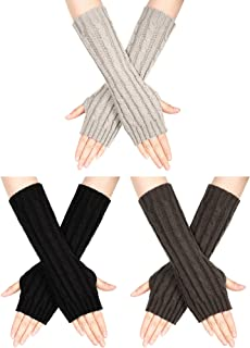 3 Pairs Woman Knit Arm Warmers Sleeves Crochet Long Fingerless Gloves with Thumb Hole