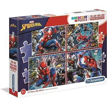 Clementoni 21410 Supercolor Puzzle-Spiderman-20+60+100+180 Teile, Mehrfarben