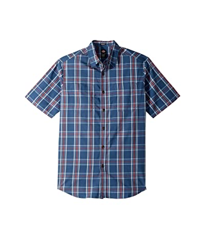 Dickies Icon Short Sleeve Shirt Relaxed Fit (Rinsed Dark Denim/Red Plaid) Men