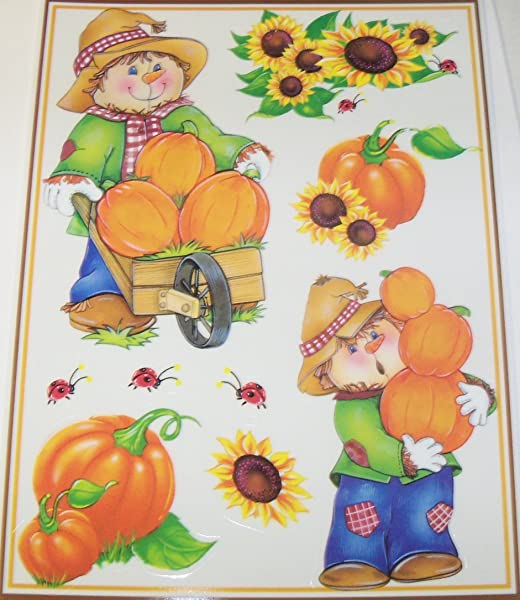 Give Thanks Reusable Window Clings Scarecrows Harvesting Pumpkins Sunflowers Ladybugs 9 Clings 1 Sheet
