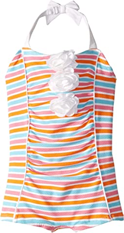 Stripe Flower One-Piece (Toddler/Little Kids/Big Kids)
