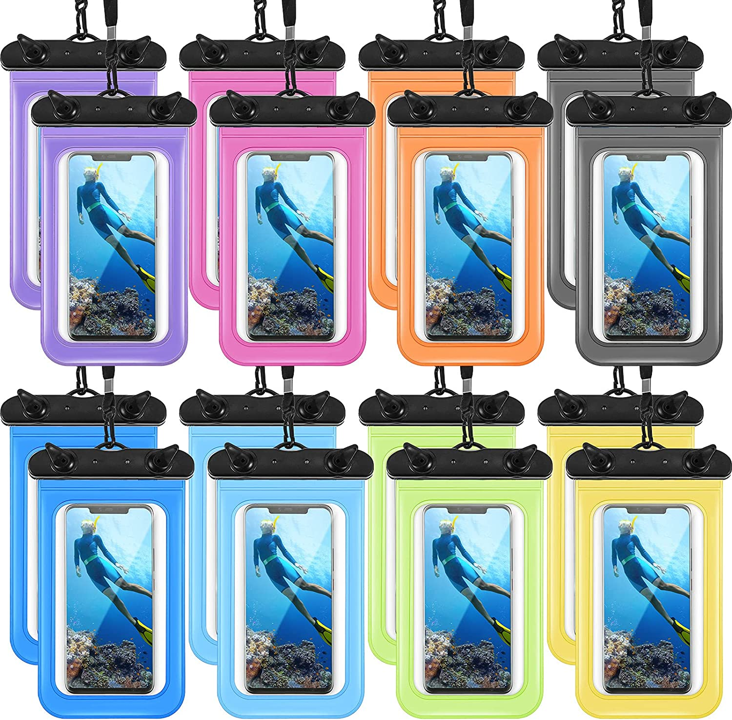 16 Pieces Universal Waterproof Phone Pouch Clear Cellphone Dry Bag with Lanyard PVC Waterproof Bag Suitable for Swimming Diving Water Skiing Hold up to 8 Inch of Phones