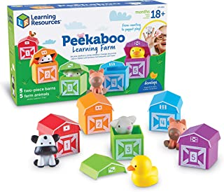 Learning Resources Peekaboo Learning Farm, Counting, Matching & Sorting Toy, Toddler Finger Puppet Toy, 10 Piece Set,  Kid...