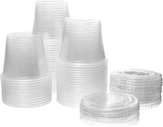 Crystalware, Disposable 5.5 oz. Plastic Portion Cups with Lids, Condiment Cup, Jello Shot, Soufflé Portion, Sampling Cup, 100 Sets – Clear