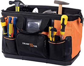 16 Inch 16 Pockets Wide Mouth Single-Shoulder Tool Bag Water Proof Ultra-Rigid Base Tool Storage and Organizer Bag