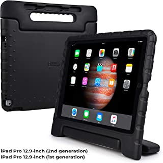 Cooper Dynamo [Rugged Kids Case] Protective Case for iPad Pro 12.9 1st 2nd Generation 2015 2017 | Child Proof Cover with Stand, Large Handle (Black)