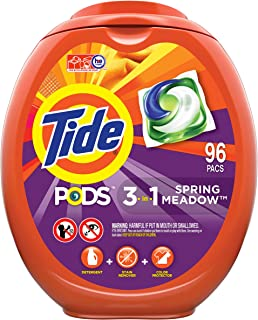 Tide PODS Laundry Detergent Liquid Pacs, Spring Meadow Scent, HE Compatible, 96 Count per..