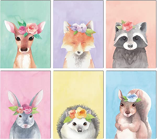 L O Goods Woodland Animals Nursery D Cor Baby Boy Girl Wall Art Watercolor Prints Set Of 6 Posters For Bedroom Decoration Cute Kids Posters 8 X 10 S