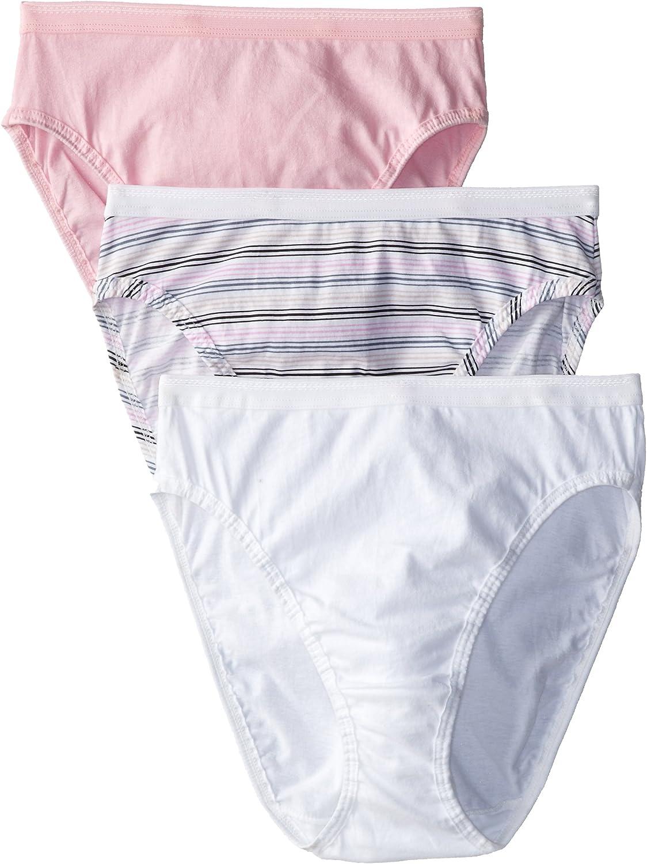 Fruit of the Loom Women's 3 Pack Assorted Cotton Hi-Cut Panties