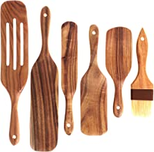 Xgood 5 Pieces Wooden Kitchen Spatula and 1 Oil Brush Wooden Cooking Utensils Kitchen Utensils Wooden Kitchen Tools Set