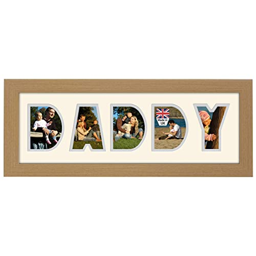 Daddy Photo Frame Oak Finish 20 X 8 Inch Fathers Day Birthday Gift Made In UK