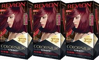 Revlon Colorsilk Buttercream Hair Dye, Vivid Red Burgundy, Pack of 3