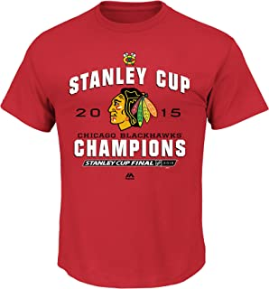 Majetic Chicago Blackhawks 2015 Stanley Cup Champs Stack The Pads T-Shirt