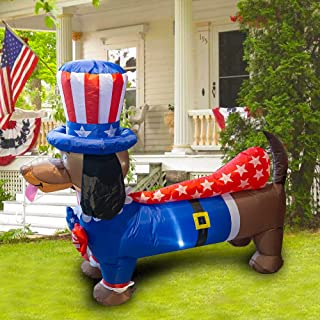 Dazzle Bright 5FT Inflatable Independence Day Decoration, Uncle Sam Puppy Dog for Indoor Outdoor Lawn Yard, Blow Up 4th of...