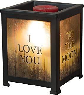 Elanze Designs Love You to Moon Back Night Sky Black Metal Electrical Wax Tart & Oil Glass Lantern Warmer