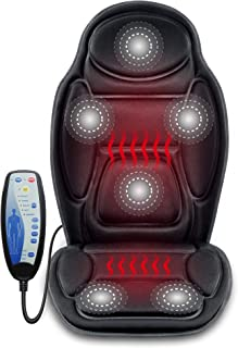 SNAILAX Massage Car Seat Cushion - 6 Vibrating Massage Nodes & 3 Heating Pad, Car Back Massager with Heat, Seat Warmer Cover for Car Truck