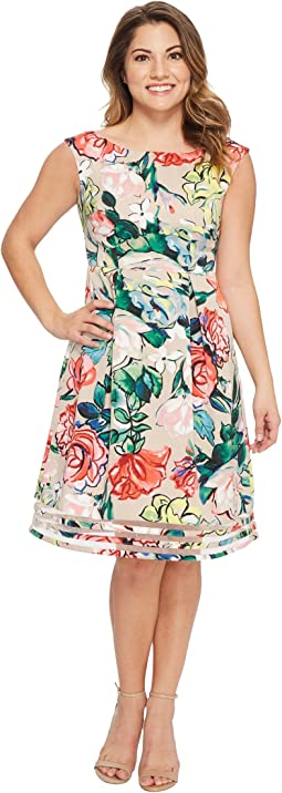 Petite Stained Glass Floral Faille Flared Dress