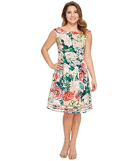 Adrianna Papell Petite Stained Glass Floral Faille Flared Dress at ...
