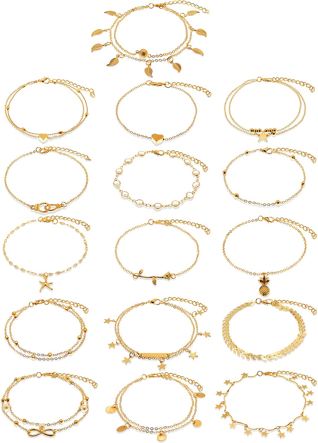 Hicarer 16 Pieces Boho Ankle Bracelets Beach Anklets Foot Chains Adjustable Foot Hand Jewelry for Women Girls
