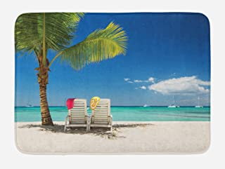 Ambesonne Seaside Bath Mat, Relaxing Scene on Remote Beach with Palm Tree Chairs and Boats Panoramic Picture, Plush Bathroom Decor Mat with Non Slip Backing, 29.5