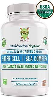 Super Cell Sea Complex - Sea Moss Bladderwrack Burdock, 60 Capsules USDA Organic Multivitamin Cell Repair