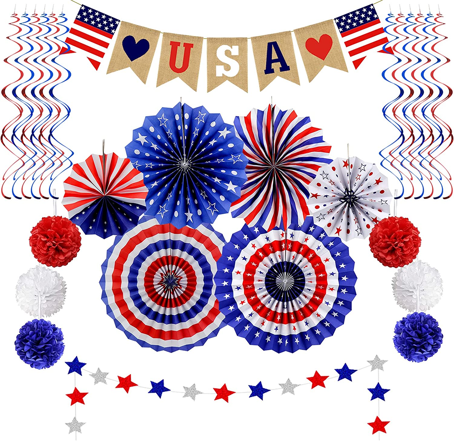 26Pcs 4th of July Patriotic Decorations Set Fourth of July Decor - Love USA Banner, Red White Blue Paper Fans, Star Streamer, Pom Poms, Hanging Swirls Party Supplies for American Theme Party