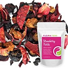 Strawberry Fields Hibiscus Herbal Fruit Tea - Caffeine Free Loose Leaf Bulk Berries Herbs and Flowers - 5 Oz Pouch