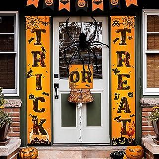 QOR Balance 3pcs Trick Or Treat Witche Halloween Hanging Banner Front Door Halloween Decoration Outdoor Indoor Home Farmho...