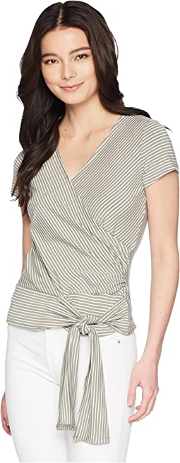 Petite Cap Sleeve Stripe Faux Wrap Tie Waist Top