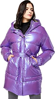 Women's Warm Winter Belted Down Coats with Stand Collar...