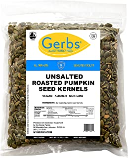 Unsalted Pumpkin Seed Kernels, 2 LBS by Gerbs – Top 14 Food Allergy Free & NON GMO - Vegan, Keto Safe & Kosher - Dry Roasted Premium Quality Seeds Grown in Mexico