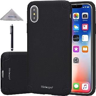 iPhone XS ケース iPhone X ケース Wisdompro [耐衝撃 滑り止め 衝撃吸収][薄型 軽量]【ワイヤレス充電対応】ソフトTPU+ハードPC アイフォン XS/X/10 カバー [全面保護 指紋防止] ブラック