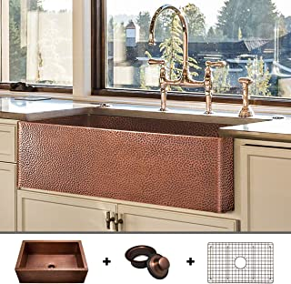 HEAVY-GAUGE (12-Gauge) Luxury 33-Inch Modern Copper Farmhouse Sink (52.6 LBS Pure Copper), Apron Front, Single Bowl, Antique Copper Finish, Grid and Flange Included, FSW1105 by Fossil Blu
