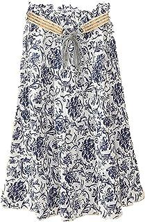 2019年夏のボヘミアンのリネンスカート Aラインスカート ハーフレングススカート