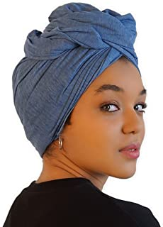 أغطية الرأس للنساء - وشاح شعر أفريقي ونسيج جيرسي قابل للتمدد - ربطة رأس طويلة وناعمة وقابلة للتنفس للشعر الطبيعي