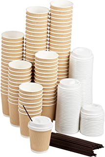 Disposable Coffee Cups Set - 100-Pack Kraft Paper 8-Ounce Insulated Ripple Cups with Lids and Stirring Sip Straws, Compostable Biodegradable Cups for Hot Drinks, Natural Brown