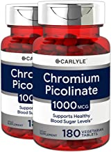 Ultra Chromium Picolinate 1000mcg   2 Pack 180 Tablets per Bottle   Supports Weight Management   Vegetarian, Non-GMO, Gluten Free   by Carlyle